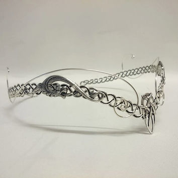 Medieval elven Pagan Viking hobbit crown tiara silver circlet headpiece tiara celtic Dragon Arwen lotr Galadriel larp