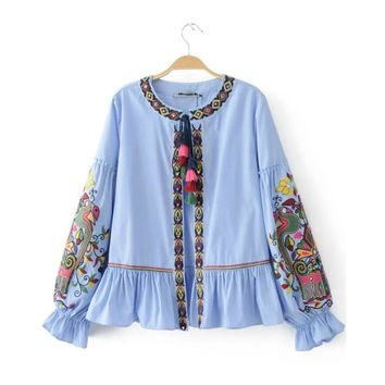 2017 Fashion Women Ethnic style Sequin embroidery Stripe Shirts Long sleeve Blouses Casual Loose Tops chemise femme blusas S1738