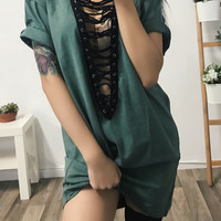 Wolfie Lace Up T-Shirt Dress (JADE)