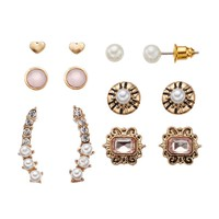 Mudd Heart Stud & Stick Drop Earring Set (Pink)
