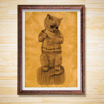 Animal poster Kitten with a cup print Cat decor