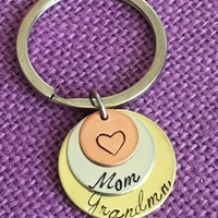 Mom Keychain - Mothers Day gift - Gift for Mom - Gift for Grandma - Best Moms get promoted to grandma - Mom - Grandma