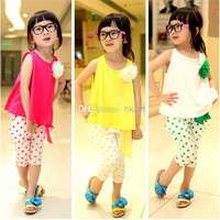 2014 Summer Candy Color Flowers Brooch Sleeveless Tank + Bowknot Dots Haren Pants 2pcs Sparkling Children Girls Clothing Sets .