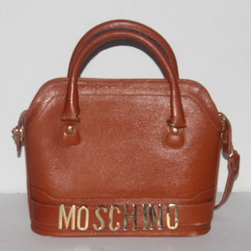 Vintage Brown Moschino Leather Purse, Bag, Hobo, Designer, Vintage, Antique Alchemy