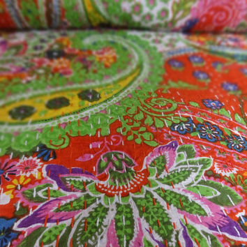 Multi Color Handmade Paisley Kantha Quilt, Designer Queen Size Bed Cover, Reversible Bohemian Kantha Bedding, Red Color Theme, Cotton Throw