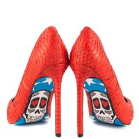 Fashion Online American Skull Red Snake Graphic Print Pointy Toe High Heel Pump Shoes