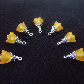 7 Pcs. Lucite Flower Cap Charms - Orange Crystal Beads - Beaded Handmade DIY Jewelry Parts - Crystal Jewelry Supplies - Gifts for Her