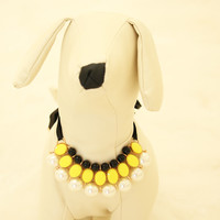 Yellow Pearl and Rhinestone Dog jewelry- Pet accessories, Pearl Necklace