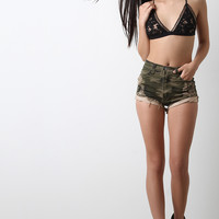 Distressed Camouflage High Waist Shorts