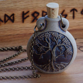 OLD WORLD MAGICK Potion Bottle Pendant Necklace 24' Bronze Chain - Your Choice - Skull, Celtic Knot, Faerie, Pentacle, Tree of Life, Wolf