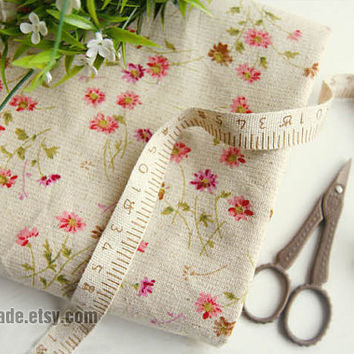 Little Daisy Floral Fabric Linen Cotton Shabby Chic Flower Pink On Beige Vintage Retro Style