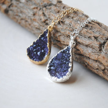 Amethyst Druzy Drop Necklace, Purple Druzy Necklace, Drop Druzy Necklace, Druzy Amethyst Necklace