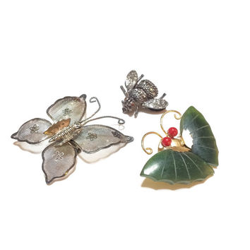 WINTER DISCOUNT TEN Butterfly Brooch, Bee Brooch, Lot of Three, Mesh Butterfly, Faux Jade, Antiqued Silver Bee, Figural Jewelry