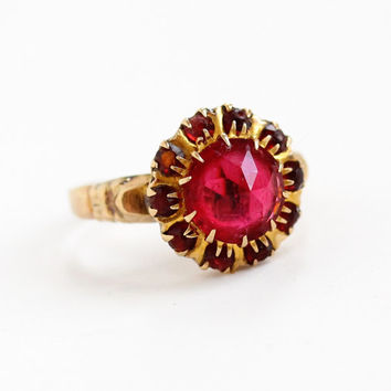 Vintage 10k Rose Gold Simulated Ruby Cluster Ring - Art Deco 1940s Size 7 Red Glass Stone Fine Halo Jewelry