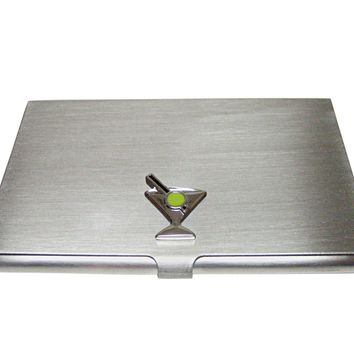Silver Toned Martini Glass Business Card Holder