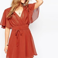 ASOS Kimono Flippy Dress with Stitch Shoulder Detail at asos.com