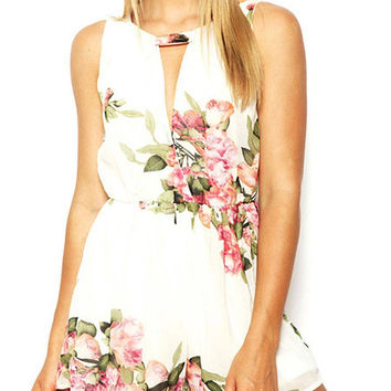 Floral Print Chiffon Romper With Cut-out Back