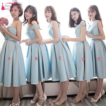 Light Sky Blue Short Bridesmaid Dresses Simple Satin Cheap African Fashion Vestidos De Festa Wedding Guest Gown Maid Honor ZP038