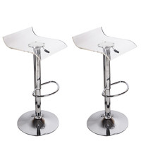 Adeco Transparent Acrylic Hydraulic Lift Adjustable Micro Back Barstool Chrome Finish Pedestal Base (Set of two)