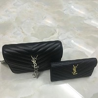 YSL Yves Saint Laurent Women Shopping Bag Leather Chain Satchel Shoulder Bag Crossbody Two Piece Set