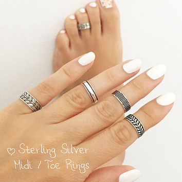 Sterling Silver Midi Ring • Toe Ring •  Foot Jewelry • Sterling Silver Toe Ring • Boho Ring • Pinky Ring • Adjustable Toe ring