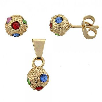 Gold Layered 10.150.0012.1 Earring and Pendant Adult Set, Ball Design, with  Cubic Zirconia, Gold Tone