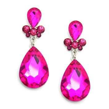 Hot Pink Crystal Earrings