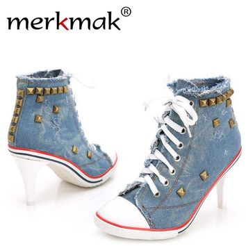 Merkmak Vintage High Heels Canvas Rivet Women Pump Ladies 2017 Casual Lace-Up Girls Denim Pump Rivets Sexy Cool Punk Women Shoes