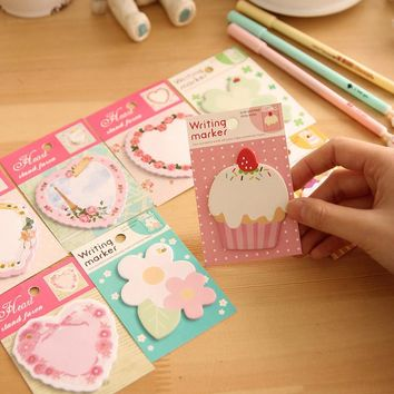 4 pcs /lot Kawaii flower heart Memo Pad paper Sticky Notes post it Notepad Stationery papeleria school supplies