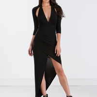 Major Ruche Asymmetrical Maxi Dress GoJane.com