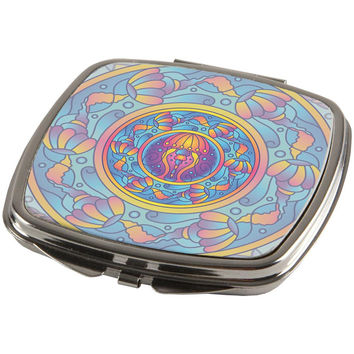 Mandala Trippy Stained Glass Jellyfish Compact