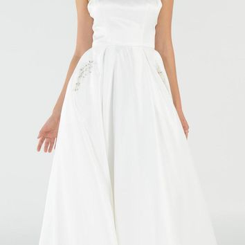 Off White Long Satin Prom Dress Halter Spaghetti Strap with Pockets