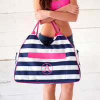 Personalized Navy & White Striped with Hot Pink Beach Bag. Initial, Monogram or Plain.