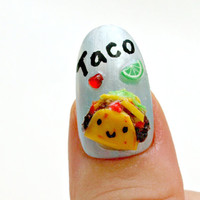 Tacos, food nail, 3D nail, pastel fashion, miniature food, decoden, Japanese nail art, acrylic nail, Harajuku, kawaii nail, decora, pop kei,