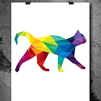 Watercolor Pixelated Cat 8x10 inch Print Home Contemporary Art Abstract Prints Wall Art for Home Decor Wall Decorations For Living Room Bedroom Office Ready-to-Frame