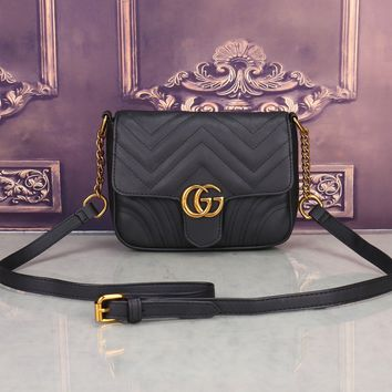"""Gucci"" Women All-match Fashion Simple Double G Wave Stripe Quilted Small Metal Chain Single Shoulder Messenger Bag"