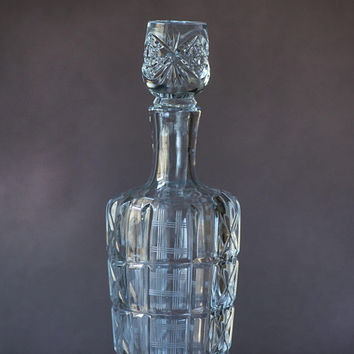 Decanter for Grappa Crystal Vintage, Drinkware Soviet Cut Crystal Decanter, Barware Crystal Glass Soviet Decanter, Crystal Etched Barware