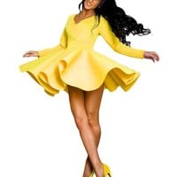 OURS Women's V-Neck Long Sleeve High Waist Stretch Pleated Short Dress Yellow Large