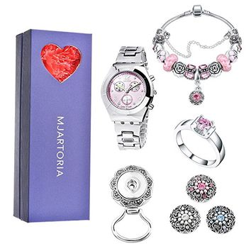 Pink Rhinestone Wristwatch Charm Bracelet Magnetic Brooch Ring Jewelry Set