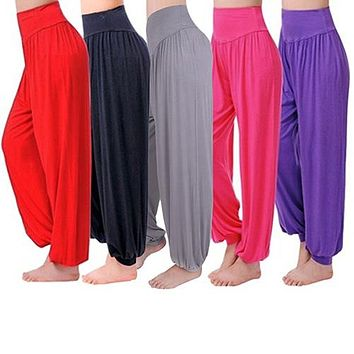 Women's Comfy Harem Loose Long Pants Belly Dance Boho casual s Wide Trousers