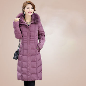 Plus Size Ladies Winter Coat Slim Hooded Winter Long Coat Women Thick Warm Duck Down Jacket Female Outerwear M-5XL DX350