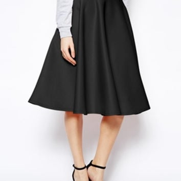 Tall Full Midi Skirt In Scuba With Pockets (ASOS)