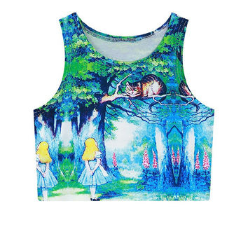 Cats Mini Crop Top Slim Sleeveless Tank Top = 4824024132