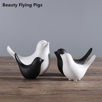 Cute animal ceramics figurines white and black bird figure statues ornaments handmade modern decorative crafts home decor