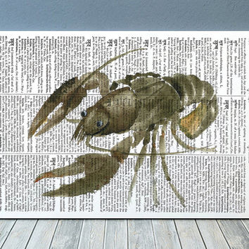Nautical print Dictionary art Lobster poster Beach house print RTA1818