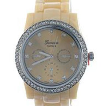 Geneva Numberless Marble Finish Band Fashion Watch
