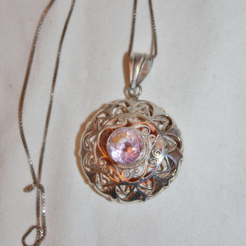 Vintage Sterling Filigree Amethyst Pendant Necklace 1970s Jewelry