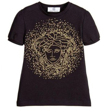 NOV9O2 Versace Girls Black Studded Medusa T-shirt