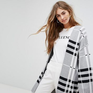 Bershka Check Midi Cardigan at asos.com