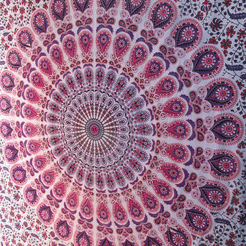 Twin Size White Indian Barmeri printed Cotton Tapestry Wall Hanging Hippie Mandala Bedspread Throw Home Decor